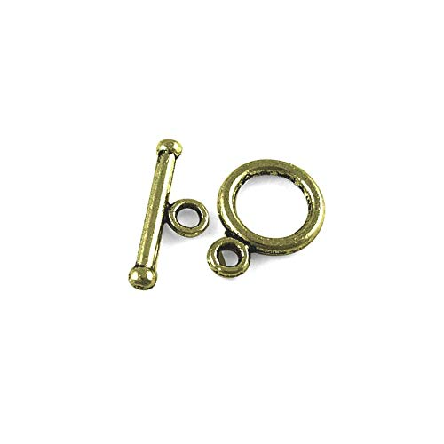 Packet 30x Antique Bronze Metal Alloy Round Toggle Clasps 10x14mm Y11175 (Charming Beads) ()