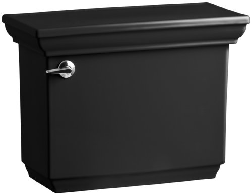 (Kohler K-4434-7 Memoirs 1.28 Gallons Per Flush Toilet Tank with Stately Design, Black)