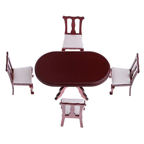 Brosco 1/12th Dollhouse Miniature Furniture Dining Room Rosewood Table Chairs Set