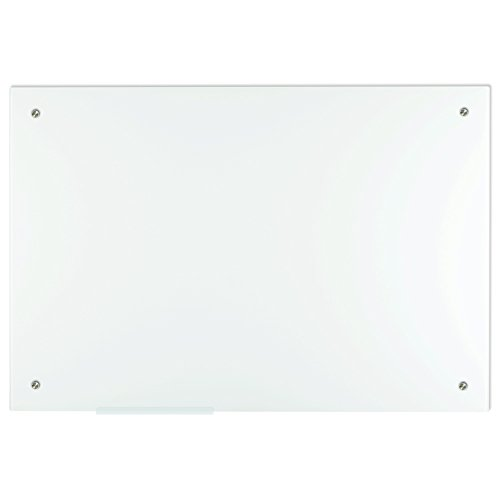 Lockways Magnetic Glass Dry Erase Board, Magnetic Whiteboard White Board 36 x 24 Inch, Frameless, Magnets,Clear Marker Tray, for Office, Home, School