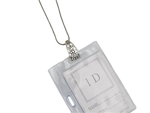 Antique Silver Tone Lanyard ID Badge Holder Necklace