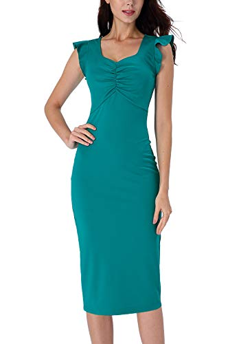 (VFSHOW Womens Teal Green Vintage Elegant Ruffle Sleeve Ruched Slimming Casual Work Business Office Cocktail Party Bodycon Sheath Midi Dress Z3029 GRN L)
