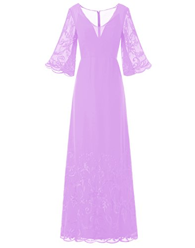 BeryLove Women's V Neck Half Sleeves Embroidery Long Chiffon Prom Dress Lilac Size (Joli Prom Prom Gown)