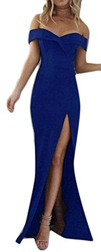 Cruiize Womens De L'épaule Bustier Haute Robe De Soirée De Fête De Fente Bleue