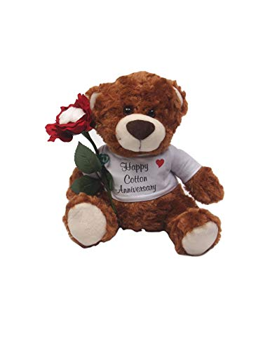 JustPaperRoses Happy 2nd Wedding Anniversary Teddy Bear with Cotton Rose Gift