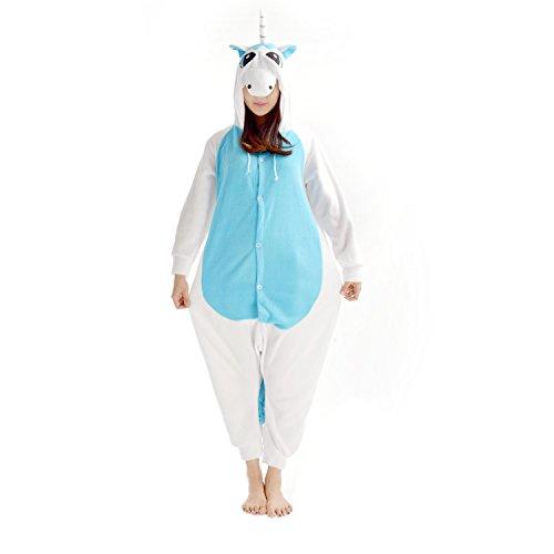 Casa Adulto Animal Licorne Pijamas Con Capucha Kigurumi Unisexo la Ropa de noche del Traje del Anime de Cosplay Disfraz Homewear Lounge Sleepwear del Onesie Unicornio azul