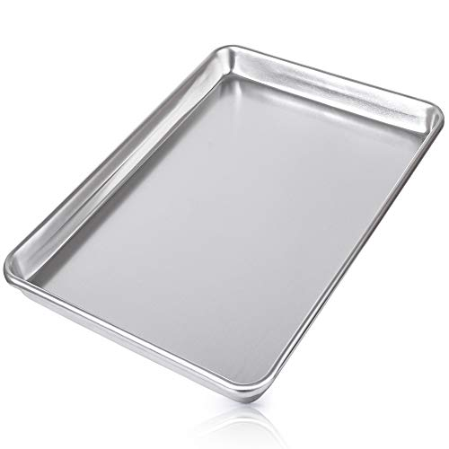 Zulay Large Aluminum Baking Pan – Half Sheet (13″ x 18″) Baking Sheet For Oven – Perfect Cookie Sheet For Baking, Commercial Or Home Use – Heavy Duty & Encapsulated Rim Half Sheet Pans