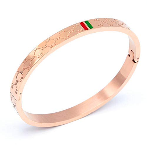 Fly.BUCKNOR Women's Fashion Classic Lovely Brilliance Bracelet - Titanium Steel Red and Green Bracelets 6.7 Inch (Rose Gold)