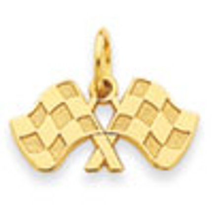 14 ct 585/1000 Or Racing Flags-Charme-Pendentif