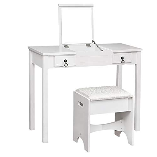 AckfulVanity Set with Flip Top Mirror Makeup Dressing Table Writing Desk with 2 Drawers Cushioned Stool 3 Removable Organizers Easy Assembly (White)