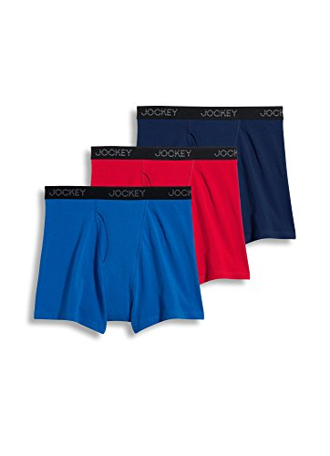 Jockey Men's Underwear Classic Stretch Boxer Brief - 3 Pack, Racecar Red/Just Past Midnight/Tropical Blue, M