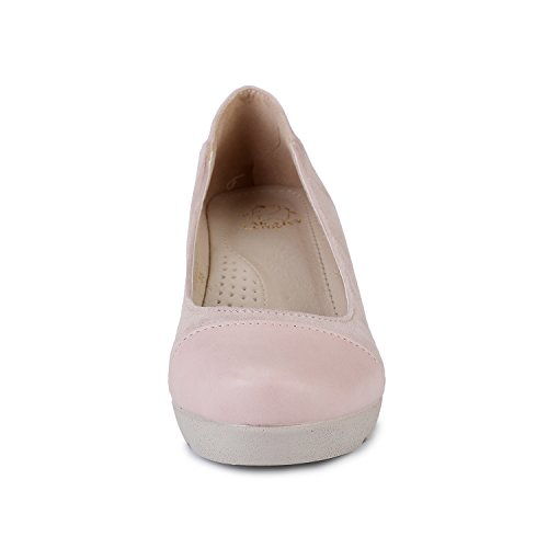Toe Heel Round Alexis Pink Womens Close Low Slip On Wedge Pumps Leroy OzaqI