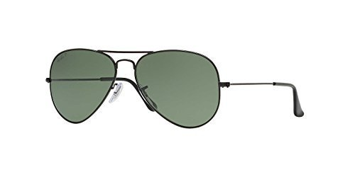 Ray-Ban Original Aviator Sunglasses (RB3025) Black Matte/Green Metal - Polarized - - Black Matte Aviators