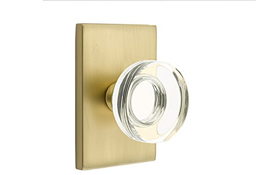 Privacy Set, Modern Rectangle Rosette, Modern Disc Crystal Knob, Satin Brass
