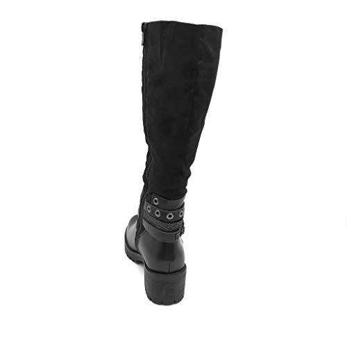 Cm Fashion Black tacco High Rings Rock Biker Blocco Inside Angkorly Boot alto Rider Boot 5 Filled Multi Donna Scarpa Motorcycle Biker Bride Lightly Lanyard a RIxST5
