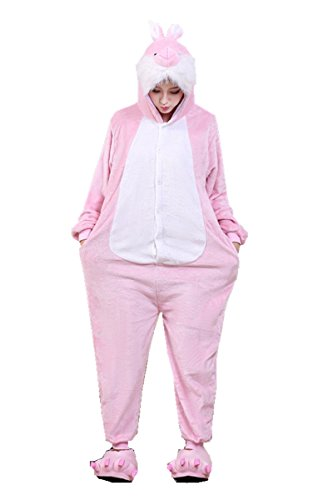 BIFINI Pink Rabbit Adult Halloween Cosplay Onesies Animal Costume Pajamas L]()