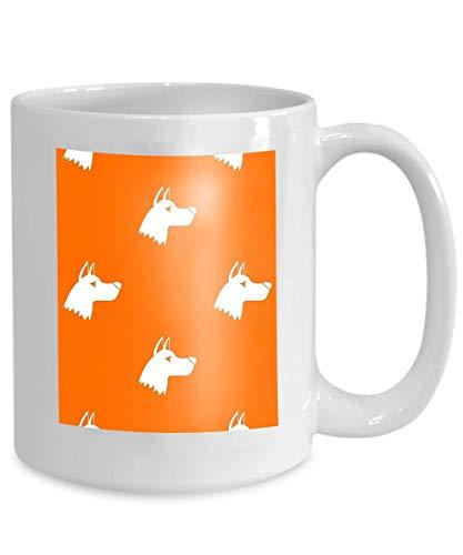 mug coffee tea cup doberman dog pattern seamless repeat orange color any design geometric 110z