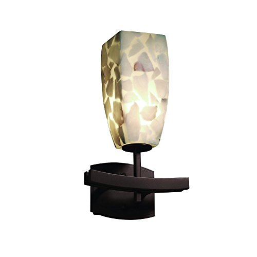 Justice Design Group Lighting ALR-8591-65-DBRZ Alabaster Rocks Archway 11.25-Inch  Square Shade Wall Sconce, Dark - 65 Rocks Dbrz Alabaster