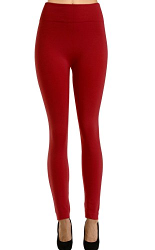 Solid Fleece Leggings for Regular and Plus Size (Plus Dark Red, Fit Size (14-24/L-2XL))
