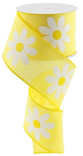 (Daisy Flower Canvas Wired Edge Ribbon, 2.5