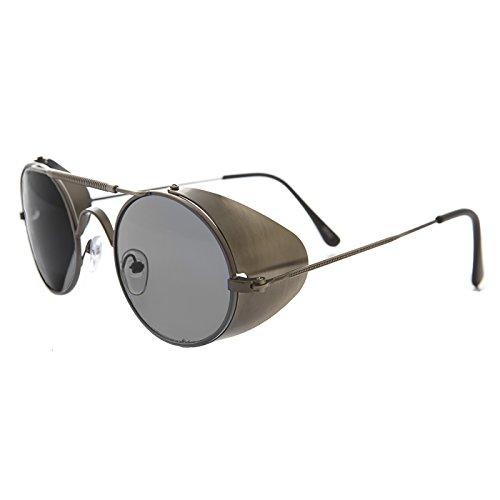 Gun Metal Steampunk Sunglass with Folding Side Shields with Gray Lens - - Museum Sunglasses