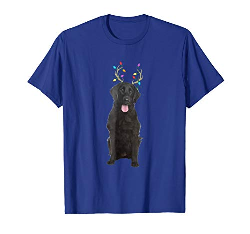 Flat Coated Retriever Reindeer Christmas Dog T-Shirt