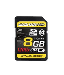 Digital Speed 8GB 1200X Professional High Speed Mach III 160MB/s Error Free (SDHC) HD Memory Card Class 10 by Digital Speed