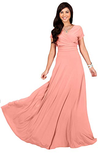 KOH KOH Petite Womens Long Cap Short Sleeve V-Neck Flowy Cocktail Slimming Summer Sexy Casual Formal Sun Sundress Work Cute Gown Gowns Maxi Dress Dresses, Light Pink Peach XS 2-4 ()