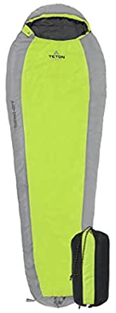 Teton Sports TrailHead Scout Ultralight Mummy Sleeping Bag; Lightweight Backpacking Sleeping Bag for Hiking and Camping Outdoors; Stuff Sack Included; Never Roll Your Sleeping Bag Again; Green/Grey