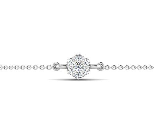 Or Blanc 18 ct Bracelet Diamant en forme de Fleur, 0.15 Ct Diamant, GH-SI, 1.28 grammes.