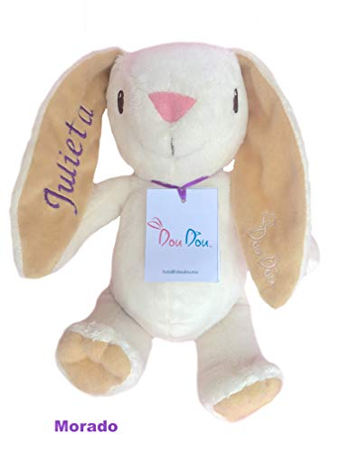 DouDou white Bunny plush with baby name embroidered good for babies (Doudou Soft Toy)