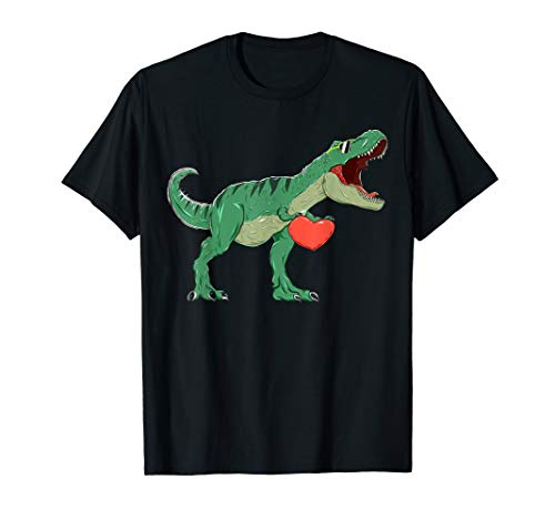 Boys Valentines Day Shirt Kids T-Rex Dinosaur I Steal Hearts
