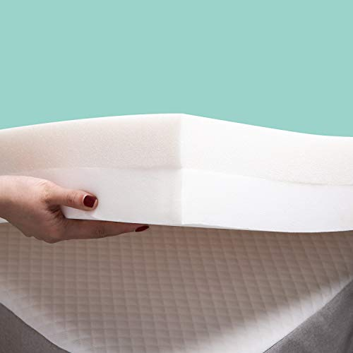 RECCI 4-Inch Premium Foam Mattress Topper Queen, 2-Layer Pressure-Relieving Bed Topper, Memory Foam Mattress Pad with Bamboo Viscose Cover – Removable Washable, CertiPUR-US Queen Size
