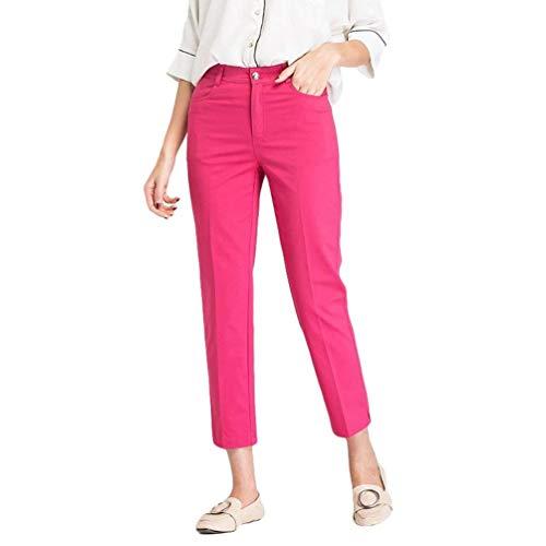 Convenzionali Della Vita Estate Pantaloni Moda Alta A Tagliati Matita Dei Coreana Battercake Solido Rose Colore Di Alla Eleganti Comodo Casuali E6qawap