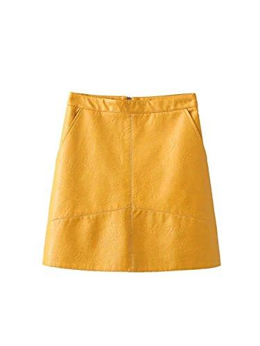 Sicong2 Beautiful 2016 autumn winter new quality brand design PU faux leather women skirt pink yellow black back zipper B YELLOWM - Outlet Long Ny Island