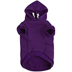 uxcell Pet Dog Hooded Hoody Sweatshirt Clothes Cotton Apparel Puppy Cat Winter/Spring/Fall Costume Outfits Fleece Warm Coat Purple S