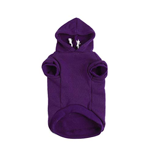 uxcell Pet Dog Hooded Hoody Sweatshirt Clothes Cotton Apparel Puppy Cat Winter/Spring/Fall Costume Outfits Fleece Warm Coat Purple - Hoody Dog