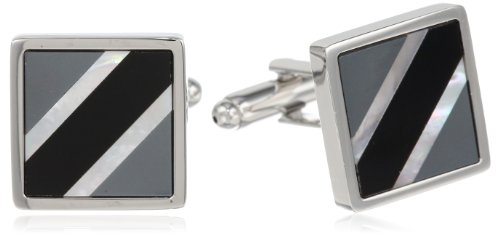 Stacy Adams Men's Square Cuff Link With Onyx and Smoke Mop, Silver, One Size (Onyx Square Cufflinks)