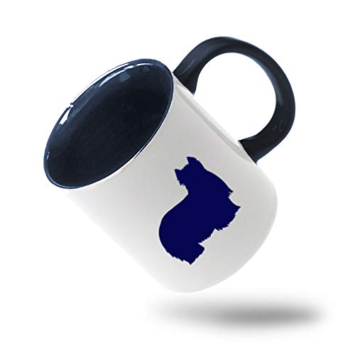 Style In Print Navy Yorkshire Terrier Silhouette Ceramic Cup Colored Mug - Blue