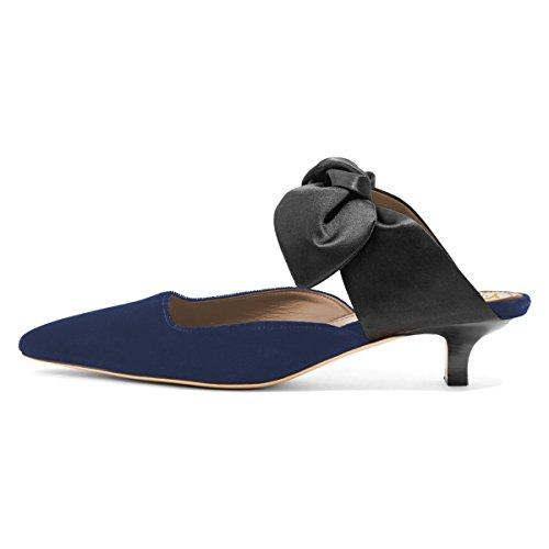 Ydn Donna Scarpe A Punta Slip On Sandali Gattino Tacco Basso Pumps Casual Muli Scarpe Scivolo Blu