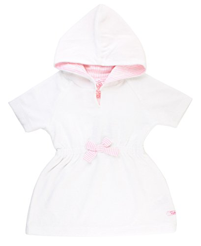 RuffleButts Baby/Toddler Girls White w/Pink Seersucker Terry Hoodie Swimsuit Cover-Up - 6-12m