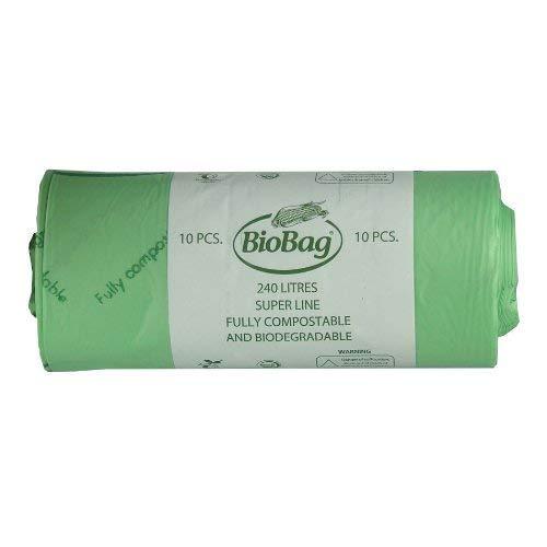 All-Green - Bolsas de basura biodegradables y compostables (240 l, 10 bolsas, guía de compostaje), color verde