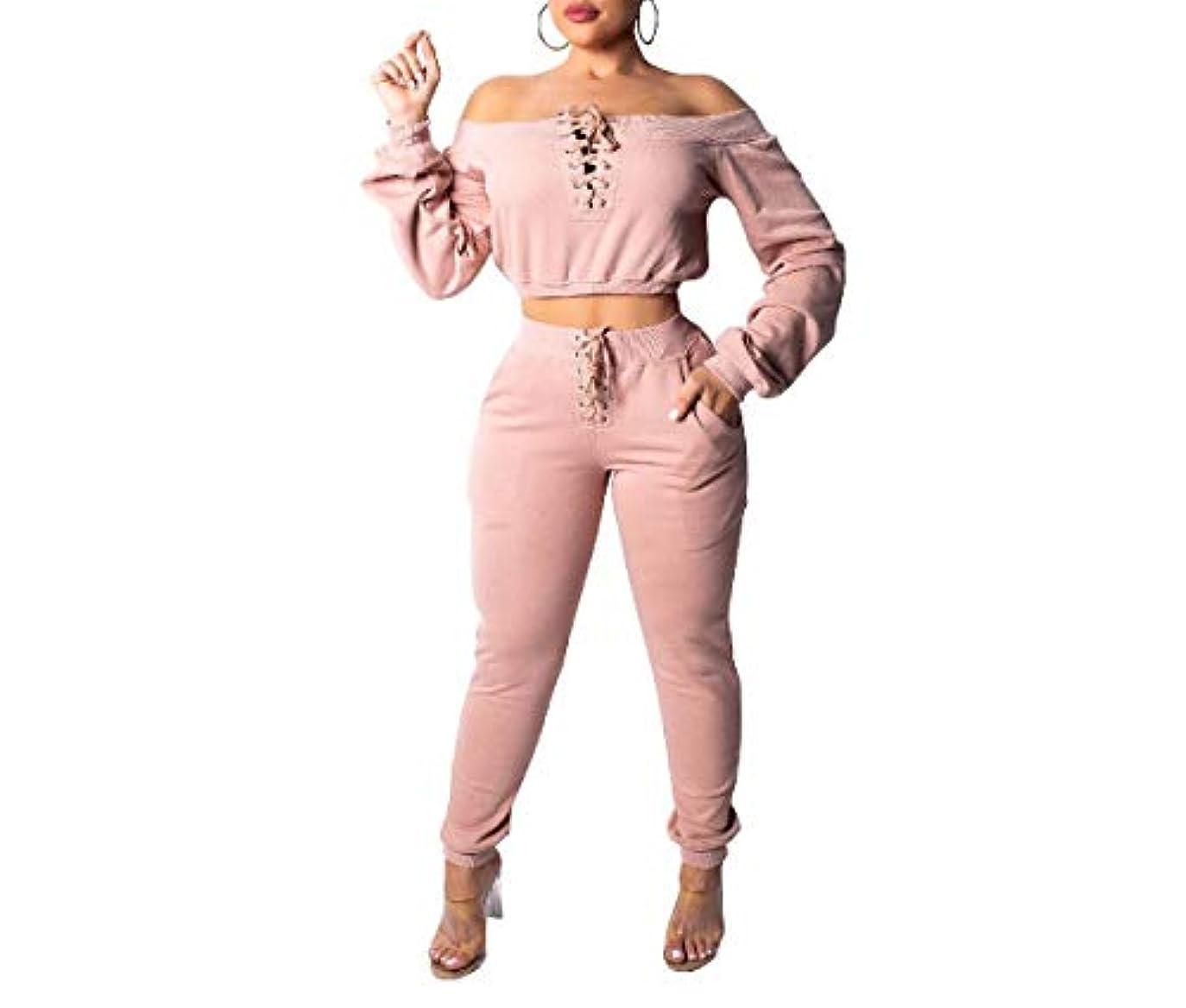 みぞれなくなる親愛なTootess 女性スウェットシャツセクシーオフショルダー長袖トラックスーツ衣装