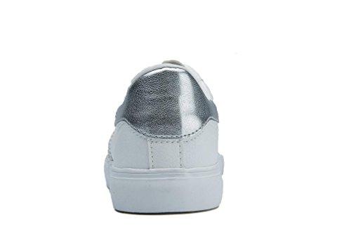 Señora Estudiantes Silver Pu Colores Ocio Escuela Diario Zapatos Blancos Nvxie Cuatro Simple Pequeños Movimiento Correr dw6qd8X