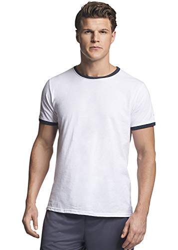 - Russell Athletic Men's Essential Cotton Ringer T-Shirt, White/Black Heather, XL