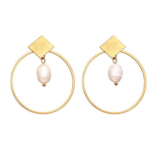 Gold Metal Circle Square Hoop Pearl Asymmetric Irregular Long Irregular Pearl Drop DIY Pendant Dangle Earring Female Jewelry Drop Geometric Gifts for ()