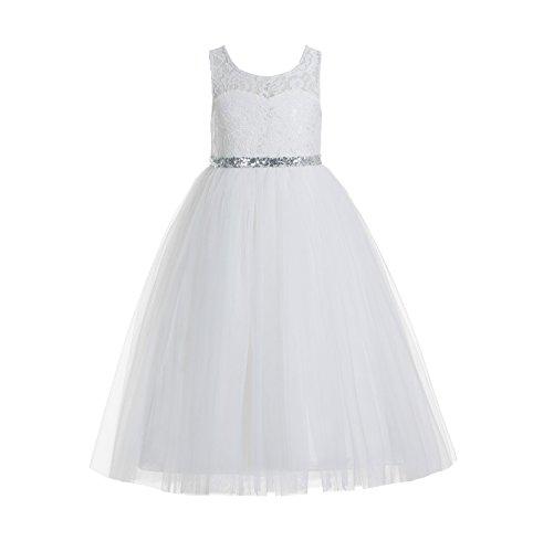 (ekidsbridal Floral Lace Scoop Neck A-Line Ivory Flower Girl Dress Keyhole Back Baptism Dresses Junior Dress 178 12)