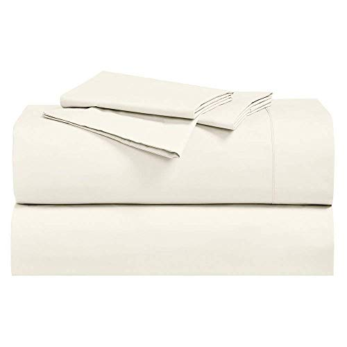 - Abripedic Crispy Percale Sheets, 300-Thread-Count, 5PC Solid Sheet Set, 100% Cotton, Up to 18 Inch Deep Pocket, Split-King, Ivory
