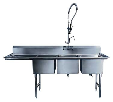 Winholt WS3T1618LD24/14DP/14GA Three Compartment Sink with 24