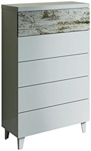 Habitdesign 037835BO - Comoda chifonier Vintage, Acabado Blanco Brillo y Decapé, Medidas: 117 cm (Alto) x 61 cm (Ancho) x 40 cm (Fondo): Amazon.es: Hogar